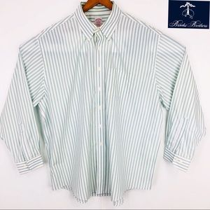 Long sleeve green strip button-down dress shirt